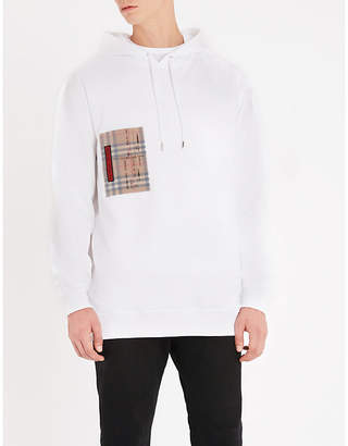 Burberry Checked-pocket cotton-jersey hoody