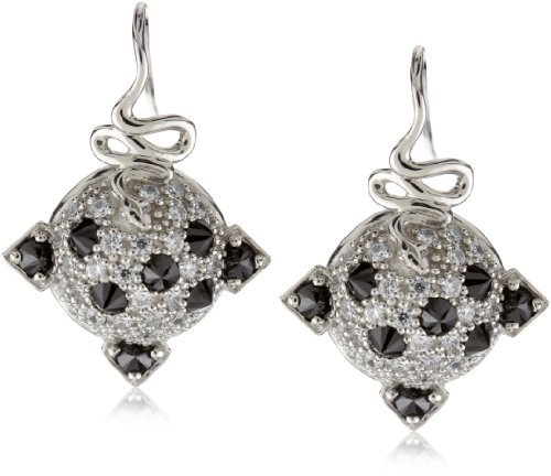 Nicky Hilton Sterling Silver Snake Domed Earrings with Cubic Zirconia