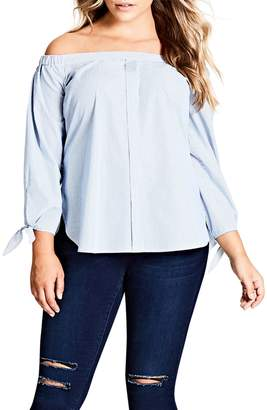 City Chic Stripe Off the Shoulder Top