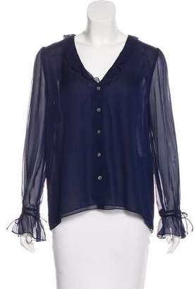 Diane von Furstenberg Semi-Sheer Button-Up Top