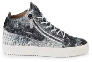 Giuseppe Zanotti Textured Leather Mid-Top Sneakers