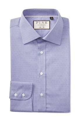 Thomas Pink Eno Textured Solid Slim Fit Dress Shirt