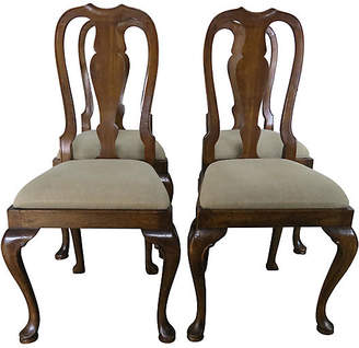One Kings Lane Vintage English Queen Anne Style Side Chairs - S4