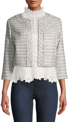 Karl Lagerfeld Paris 3/4-Sleeve Cropped Tweed Jacket