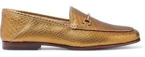 Sam Edelman Loraine Metallic Croc-Effect Leather Loafers