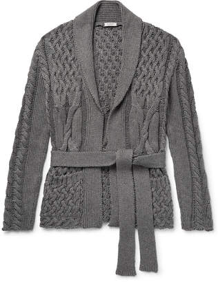 Eidos - Shawl Collar Cable-Knit Cotton and Cashmere-Blend Cardigan