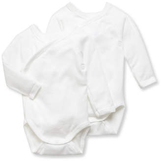 Petit Bateau DOUBLE PACK UNISEX NEWBORN BABY PLAIN LONG-SLEEVE BODYSUITS