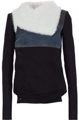 Rick Owens Shearling Leather And Denim-Paneled Cotton-Twill Jacket