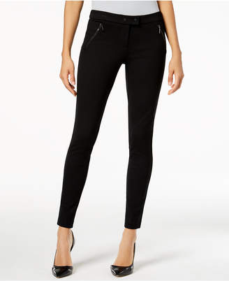 Alfani Ponté-Knit Zip-Pocket Skinny Pants, Created for Macy's