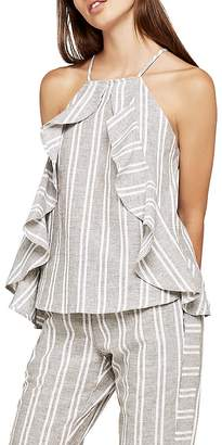 BCBGeneration Ruffled Striped Top