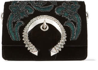 Jimmy Choo MADELINE SHOULDER/S Black Velvet Shoulder Bag with Floral Bead Embroidery and Crystal Buckle