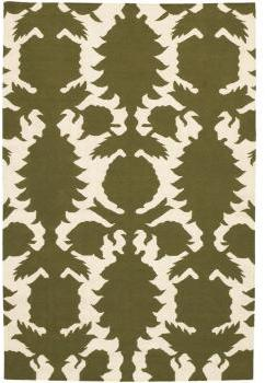 Thomas Paul Rugs Flock Dhurrie in Green and Cream