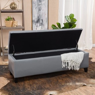 Noble House Lawrence Grey Faux Leather Storage Ottoman