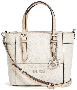 GUESS Delaney Logo-Embossed Mini Tote $65 thestylecure.com