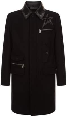 Valentino Studded Leather Collar Coat