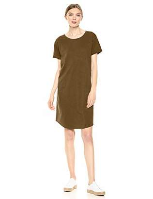 Amazon Brand - Daily Ritual Women's Lived-in Cotton Roll-Sleeve Crewneck T-Shirt Dress