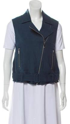Elizabeth and James Linen-Blend Zip-Up Vest w/ Tags