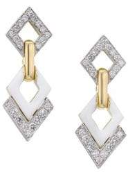 David Webb Motif Platinum, 18K Yellow Gold& Diamond Double Drop Earrings