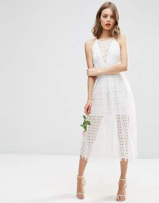 ASOS BRIDAL Premium Lace Midi Dress With Sheer Insert $143 thestylecure.com