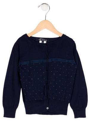 Lili Gaufrette Girls' Embellished Knit Cardigan