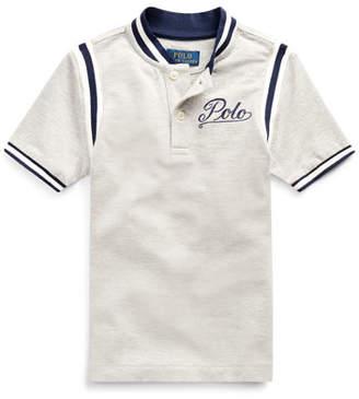 Ralph Lauren Childrenswear Mesh Knit Striped-Trim Shirt w/ Logo Embroidery, Size 2-4