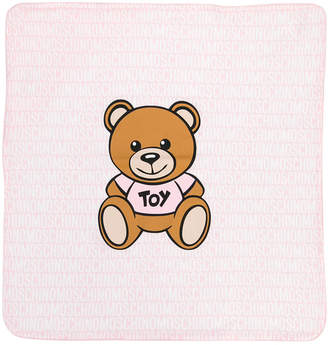 Moschino Kids bear and logo print blanket