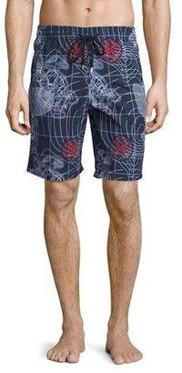 Vilebrequin Okoa Sonar-Print Swim Trunks, Navy $280 thestylecure.com