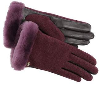 UGG Shorty Smart Fabric Faux Fur Lined Genuine Shearling Cuff Gloves