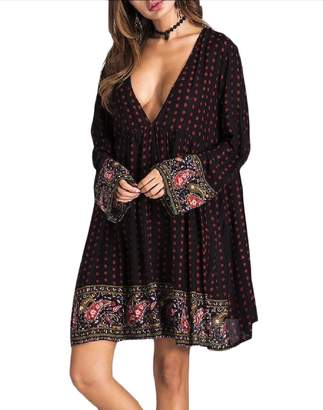 9e351adfc4f1 FreelyWomen Freely Womens Boho Low Cut Deep V-Neck Cotton Long-Sleeve Mini  Dress