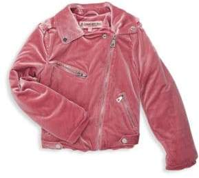 Urban Republic Baby Girl's Velvet Biker Jacket
