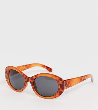 Monki round oval sunglasses in brown tortoise
