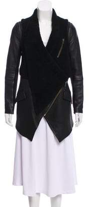 Yigal Azrouel Leather and Shearling Short Coat