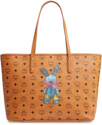 MCM Medium Rabbit Coated Canvas Shopper