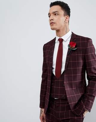Asos Design Wedding Super Skinny Suit Jacket In Wine And Orange Grid Check