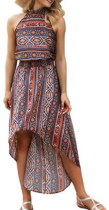 Nicelly Women Printed Boho High Neck High Low Smocked Waist Party Dress L