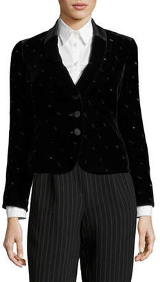 Emporio Armani Rhinestone Velvet Satin Trim Jacket