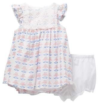 Pippa & Julie Floral Print Lace Yoke Dress (Baby Girls 12-24M)