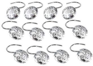 TMISHION 12pcs Shower Curtain Hooks Rings Bathroom Decorative Rhinestone Rolling Curtain Crystal Hooks