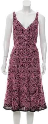 Carmen Marc Valvo Embroidered Silk Dress