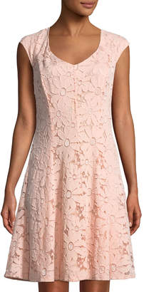 Chetta B Cap-Sleeve Lace A-Line Dress