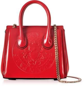 Balmain 3D Red Glossy Leather Mini Top Handle Bag w/Embossed Blazon
