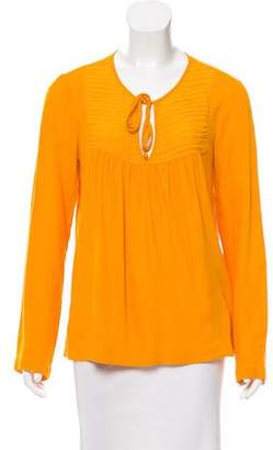 Ella Moss Silk-Paneled Long Sleeve Top w/ Tags