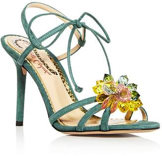 Charlotte Olympia Women's Tallulah Embellished Suede Ankle Tie High-Heel Sandals