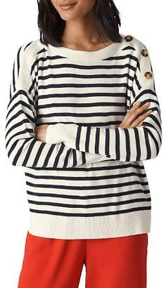 Whistles Striped Button-Detail Sweater