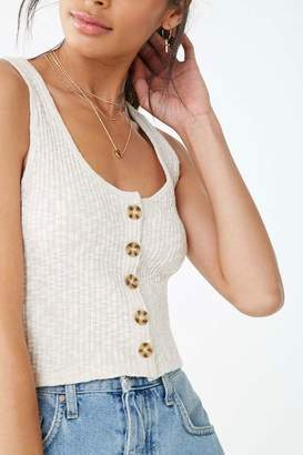 Forever 21 Button-Front Cropped Tank Top