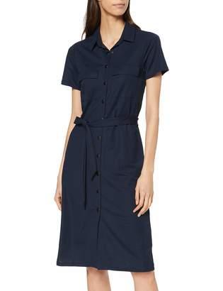 Vila Women's Visafina S/S Shirt Dress Tb/Ki Blue Total Eclipse 10 (Herstellergroe: 36)