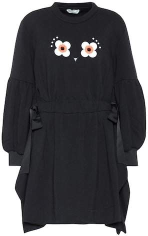 Fendi Embellished cotton-blend sweatshirt dress