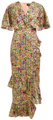 Saloni Rose Floral Print Silk Blend Lame Dress - Womens - Multi