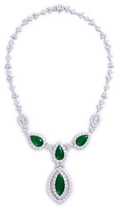 LC Collection Jade Diamond jade 18k gold marquise pendant necklace