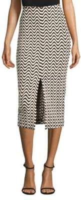 Yigal Azrouel Printed Front Slit Skirt